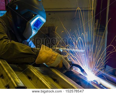 welder Industrial automotive part in factorycraftsman protection