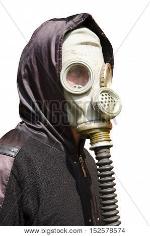 Man is in a gas mask and hood on white background