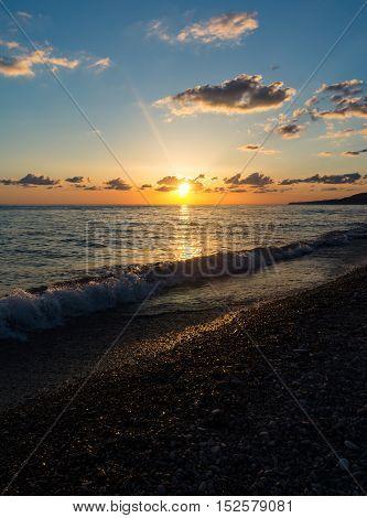 Sunset on the Black Sea in the summer, Lazarevskoye
