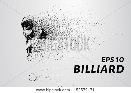 The billiard particle. Billiard aim to strike. Billiards silhouette consists of circles and points.