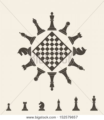 Chess piece on gray background. (EPS 10)