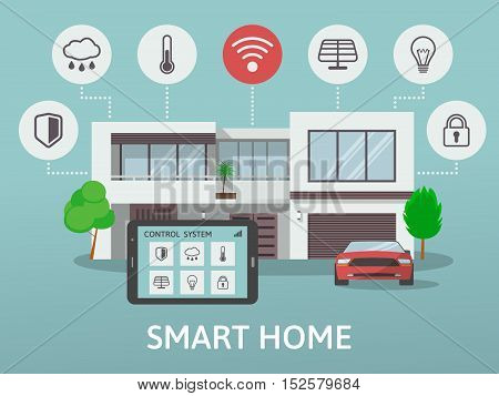 Modern Smart Home. Flat design style concept, technology system with centralized control. Vector illustration.