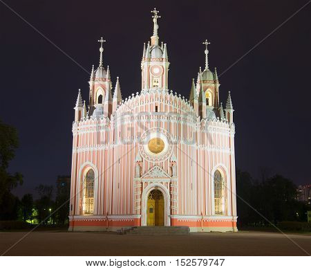 Old Chesme Church in july night. Saint Petersburg, Russia