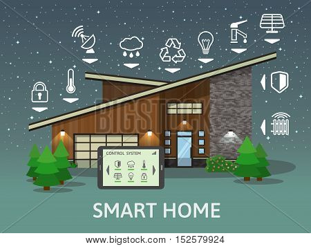 Modern Country Smart Home, at night. Flat design style concept, centralized control system. Vector illustration.