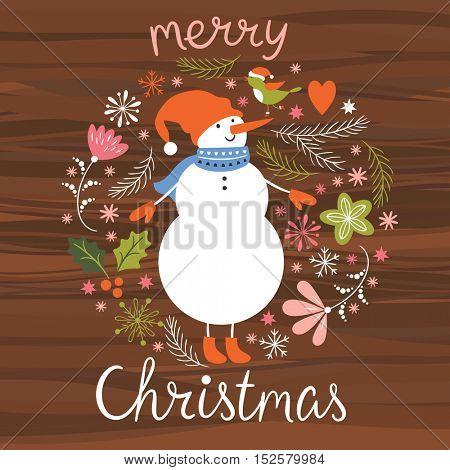 Christmas illustration, Cute Snowman