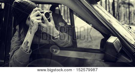 Young Man Taking Photos Concept