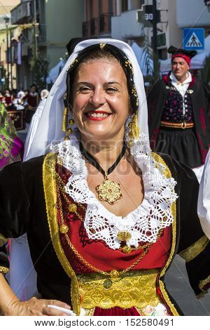 SELARGIUS, ITALY - September 11, 2016: Former marriage Selargino - Sardinia - portrait of a beautiful woman in traditional Sardinian costume