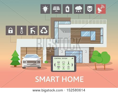 Modern Smart Home with terrace, at night. Flat design style concept, centralized control system. Vector illustration.