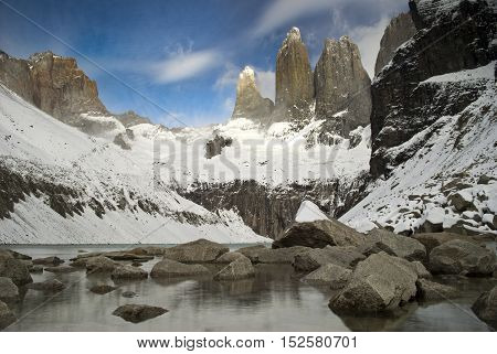 Three granite peaks visible at base torres, Torres del Paine, Chile