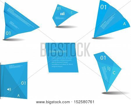 Set Of Various Graphic Elements With Blue Color