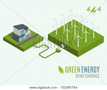 House with alternative Eco Green Energy, flat 3d web isometric infographic concept. Wind Turbines set. Vector illustration.