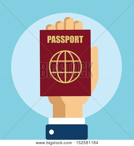 Hand With Passport Vector Illustration Flat Stock -