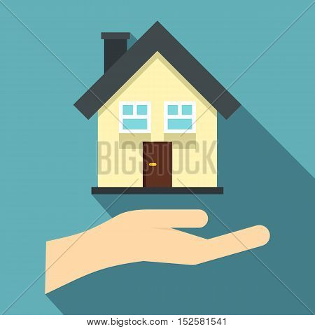 Hand holding house icon. Flat illustration of hand holding house vector icon for web isolated on light blue background