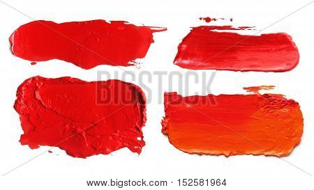 Collection of abstract acrylic color brush strokes blots. Isolated on white.