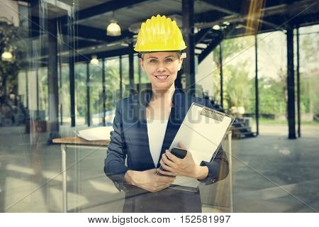 Businesswoman Architect Engineer Construction Design Concept