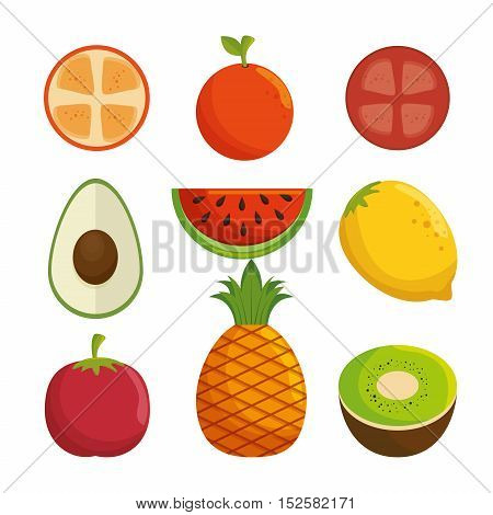delicious fresh fruit healthy icon vector illustration design