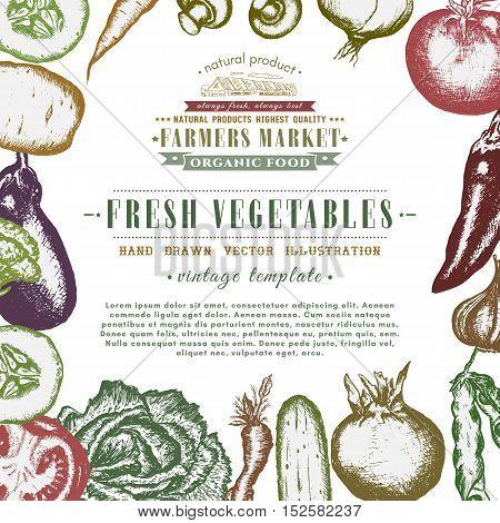 Eco food design ink hand drawn vegetables sketch organic products frame. Vintage fresh vegetables illustration. Healthy eating. Farm market template.