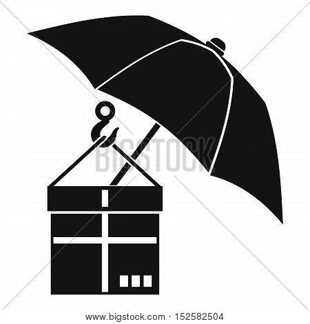 Umbrella and a cardboard box icon. Simple illustration of umbrella and a cardboard box vector icon for web