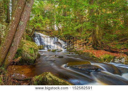 Potts Falls are located near the town of Bracebridge Ontario in the Muskoka Region.