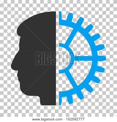 Blue And Gray Android Head interface icon. Vector pictograph style is a flat bicolor symbol on chess transparent background.