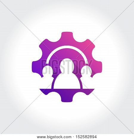 Gears with People's symbol. Technology Business illustration