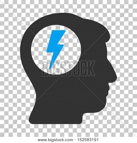 Blue And Gray Brain Electric Shock interface pictogram. Vector pictograph style is a flat bicolor symbol on chess transparent background.
