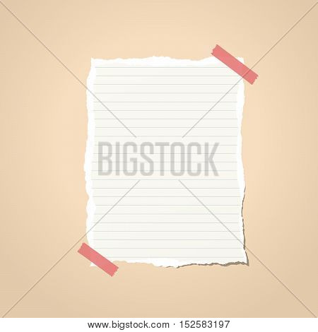 Ripped white ruled notebook paper stuck on brown vignette background.