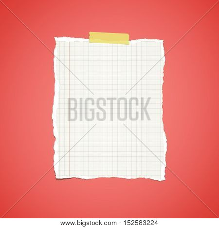 Ripped white ruled notebook paper stuck on red vignette background.