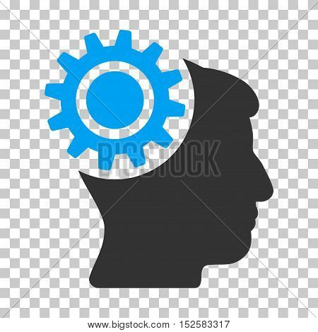 Blue And Gray Brain Gear toolbar pictogram. Vector pictograph style is a flat bicolor symbol on chess transparent background.