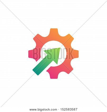 Gears with arrow inside. Technology Business illustration
