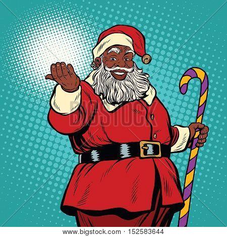 African American black Santa Claus, pop art retro vector illustration. Christmas and New year