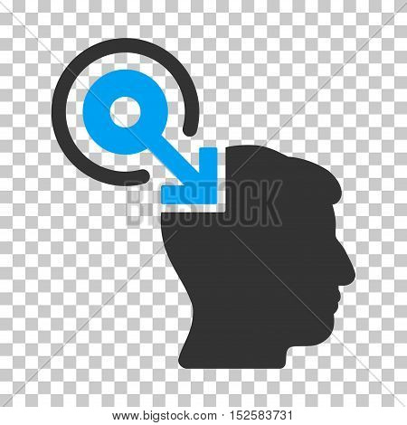Blue And Gray Brain Interface Plug-In interface toolbar pictogram. Vector pictogram style is a flat bicolor symbol on chess transparent background.