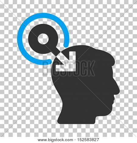 Blue And Gray Brain Interface Plug-In interface toolbar pictogram. Vector pictograph style is a flat bicolor symbol on chess transparent background.