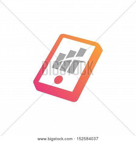 Smartphone chart infographics element. Finance Technology vector illustration
