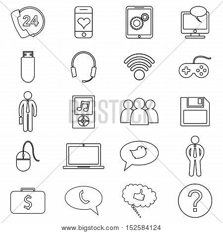 Simple set of customer relationship management, feedback, review, emotion symbols and more. Vector line