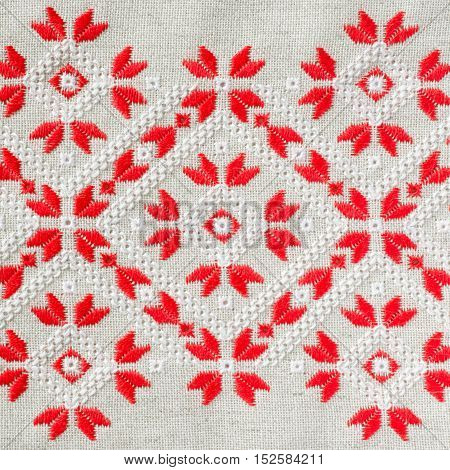 Embroidery Pattern By Red And White Cotton Threads For Background Or Cover. Craft Embroidery.