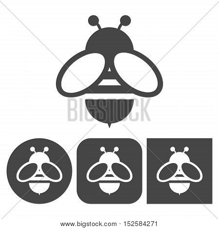 Bee icon - vector icons set on white background