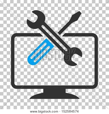 Blue And Gray Computer Tools interface toolbar icon. Vector pictogram style is a flat bicolor symbol on chess transparent background.