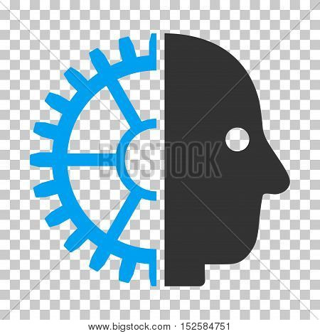 Blue And Gray Cyborg Head interface toolbar pictogram. Vector pictograph style is a flat bicolor symbol on chess transparent background.
