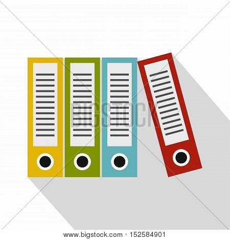 Red, green, blue and yellow office folders icon. Flat illustration of office folders vector icon for web isolated on white background