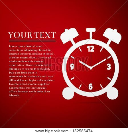 Alarm clock flat icon on red background. Vector Illustration