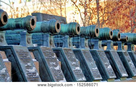 Old cannons in Moscow Kremlin. UNESCO World Heritage Site. Color photo.
