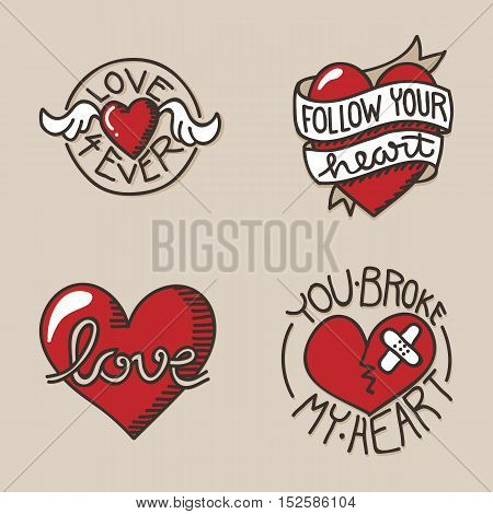 Set of love related icons with hand lettering and handdrawn heart