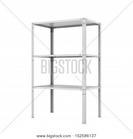 3d rendering of a metal rack with three shelves, isolated on a white background. Steel Furniture. Shelving units. Open storage system. Keeping and storing stuff.