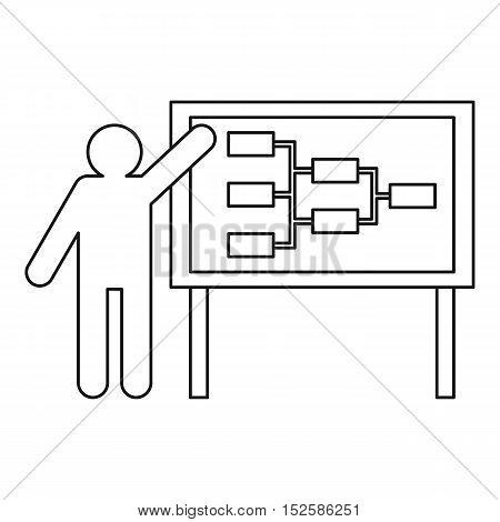 Businessman and presentation screen icon. Outline illustration of businessman and presentation screen vector icon for web