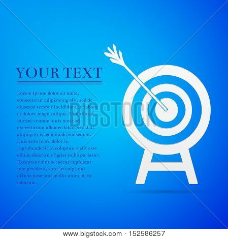 Target with dart in black flat icon on blue background. Vector Illustration