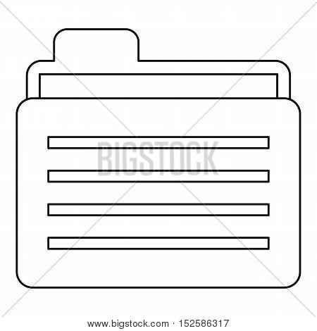 Folder icon. Outline illustration of folder vector icon for web
