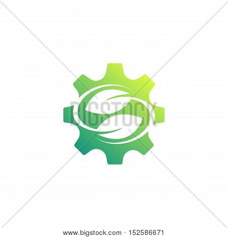 Ecology mechanism concept gears icons for eco friendly, energy, environment, green, recycle, bio and global concepts