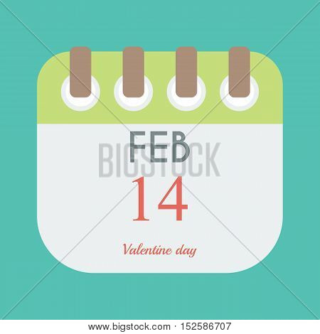 calendar icon flat of February 14. valentine day