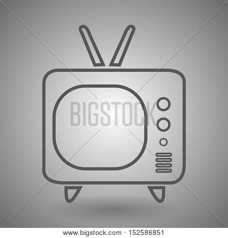 Retro television line icon for web mobile and infographics. Vector dark grey icon isolated on light grey background